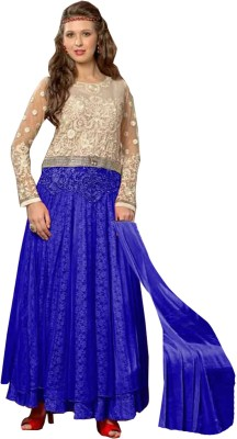 Vandv Shop Net Embroidered Semi-stitched Salwar Suit Dupatta Material