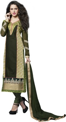 Fladorfabric Georgette Embroidered Semi-stitched Salwar Suit Dupatta Material