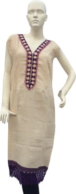 Jupi Linen Solid, Embroidered Kurti Fabric