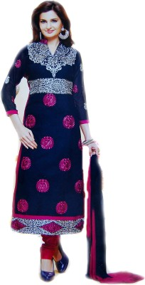 ADSF Cotton Embroidered Semi-stitched Salwar Suit Dupatta Material