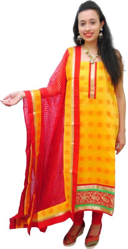 Ethnic Creations Cotton Self Design Salwar Suit Dupatta Material(Un-stitched)