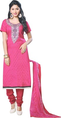 Mahi's Collections Cotton Embroidered Salwar Suit Dupatta Material