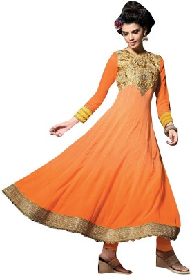 Sunrise International Georgette Embroidered Semi-stitched Salwar Suit Material