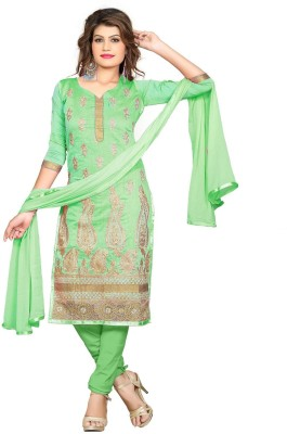 Ecoco Fashion Chanderi Embroidered Semi-stitched Salwar Suit Dupatta Material