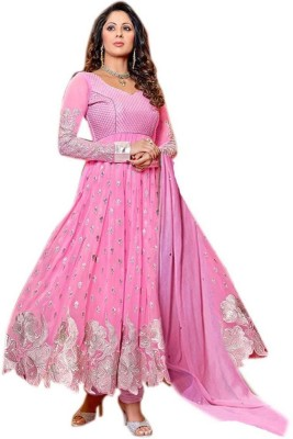 WXW Fashion Georgette Self Design Semi-stitched Salwar Suit Dupatta Material