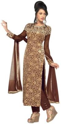 Jabudi Creation Velvet Embroidered Semi-stitched Salwar Suit Dupatta Material