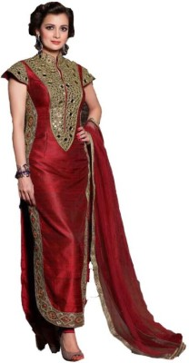 Loot Lo Creation Silk Embroidered Semi-stitched Salwar Suit Dupatta Material