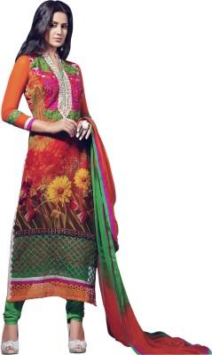 Sanchey Georgette Floral Print Semi-stitched Salwar Suit Dupatta Material