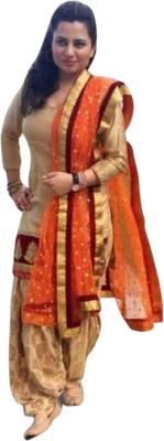 LongFashion Cotton Embroidered Semi-stitched Salwar Suit Dupatta Material