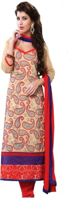 Style Mania Chanderi Embroidered Semi-stitched Salwar Suit Dupatta Material