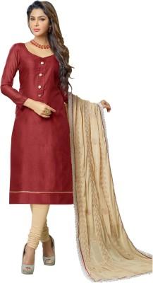 Ganga Fashion Chanderi Embroidered Salwar Suit Dupatta Material