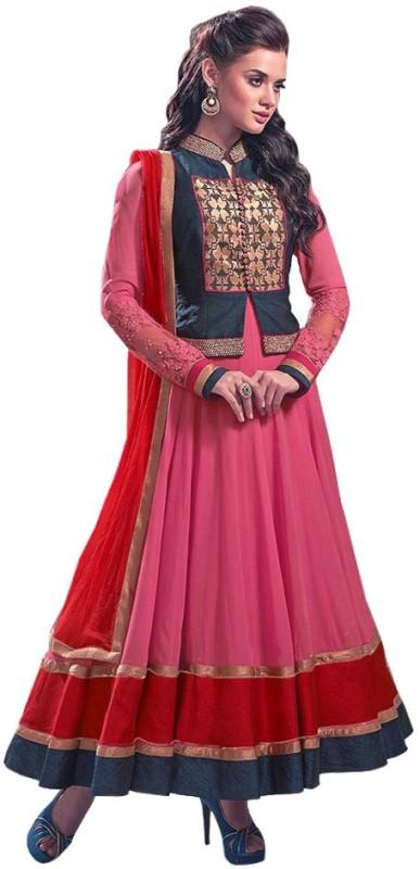 Fabfirki Fashion Hub Georgette Self Design Semi-stitched Salwar Suit Dupatta Material