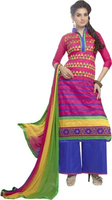 Dlines Cotton Embroidered Semi-stitched Salwar Suit Dupatta Material