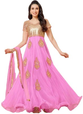 Javuli Synthetic Georgette Embroidered Semi-stitched Gown, Salwar and Dupatta Material