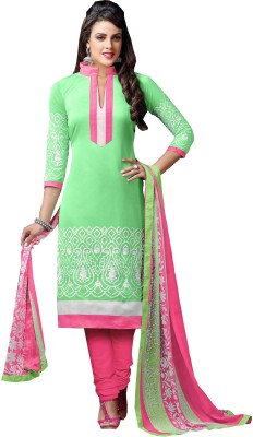 LongFashion Chanderi Embroidered Semi-stitched Salwar Suit Dupatta Material