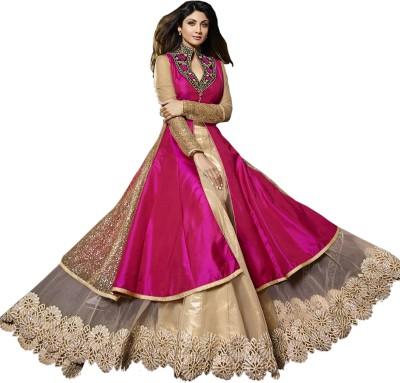 Fashion4masti Brocade, Art Silk, Organza Embroidered Salwar Suit Dupatta Material