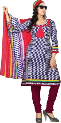 Aagamanfashion Cotton Polyester Blend Printed Semi-stitched Salwar Suit Dupatta Material