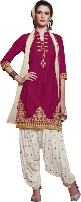 Kvsfab Cotton Embroidered Salwar Suit Dupatta Material(Un-stitched) at flipkart