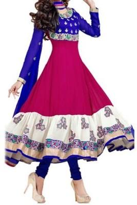 DWM Georgette Embroidered Semi-stitched Salwar Suit Dupatta Material