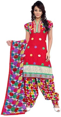 Fladorfabric Cotton Embroidered Semi-stitched Salwar Suit Dupatta Material
