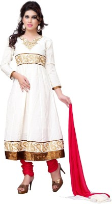Nine Threads Cotton Embroidered Semi-stitched Salwar Suit Dupatta Material