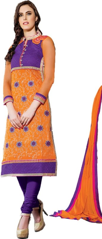 King Sales Cotton Linen Blend Embroidered Dress/Top Material(Un-stitched)