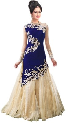 yogifashion Velvet, Net Embroidered Semi-stitched Gown