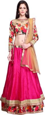 Bhelpuri Jute, Art Silk Self Design Semi-stitched Lehenga Choli Material