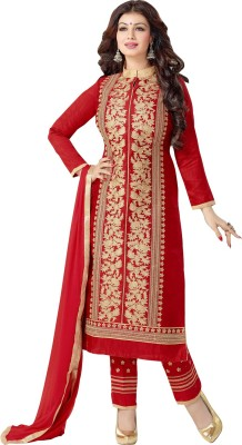 Vwaan Fashion Chanderi Embroidered Salwar Suit Dupatta Material