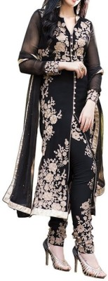 Pickurs Georgette Embroidered Semi-stitched Gown, Salwar and Dupatta Material