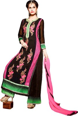 FR Georgette Embroidered Semi-stitched Salwar Suit Dupatta Material