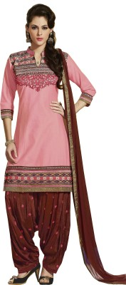 Om Sai Creation Cotton Embroidered Semi-stitched Salwar Suit Dupatta Material
