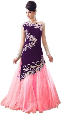 King Sales Velvet, Net Embroidered Semi-stitched Lehenga Choli Material