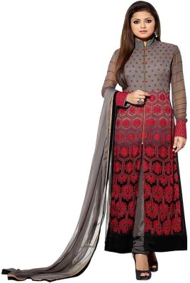 ReniSales Georgette Embroidered Semi-stitched Salwar Suit Dupatta Material