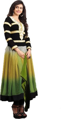 OrangeFab Georgette, Velvet Embroidered Semi-stitched Salwar Suit Dupatta Material