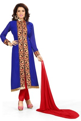 The Four Hundred Georgette Embroidered Semi-stitched Salwar Suit Dupatta Material