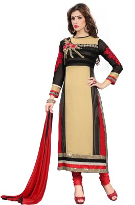 Multiretail Georgette Embroidered Semi-stitched Salwar Suit Dupatta Material