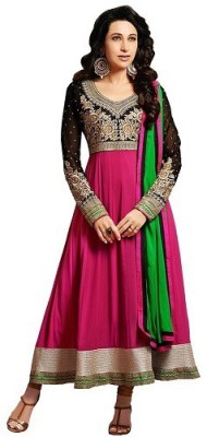 Harsiddhi Georgette Embroidered Semi-stitched Salwar Suit Dupatta Material