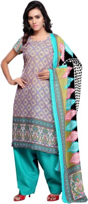 Shahlon Cotton Polyester Blend Printed Salwar Suit Dupatta Material