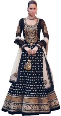 Shivdressmaterials Georgette Embroidered Semi-stitched Salwar Suit Dupatta Material