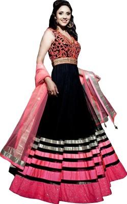 KrishnaFashion321 Net Embroidered Semi-stitched Salwar Suit Dupatta Material