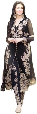 Vwaan Fashion Georgette Embroidered Semi-stitched Salwar Suit Dupatta Material