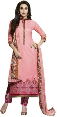 Jaamso Chiffon, Cotton Embroidered Semi-stitched Salwar Suit Dupatta Material