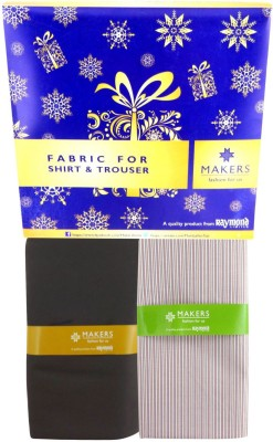 Makers Cotton Polyester Blend Striped Shirt & Trouser Fabric