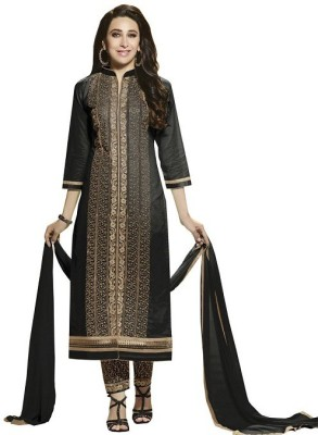 Jaamso Royals Cotton, Chiffon Embroidered Semi-stitched Salwar Suit Dupatta Material
