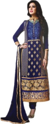 Annie Creations Georgette Embroidered Semi-stitched Salwar Suit Dupatta Material