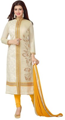 3g9 Shop Yellow Cotton Embroidered Semi-stitched Salwar Suit Dupatta Material