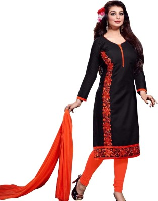 Neets Fashion Cotton Embroidered Semi-stitched Salwar Suit Dupatta Material
