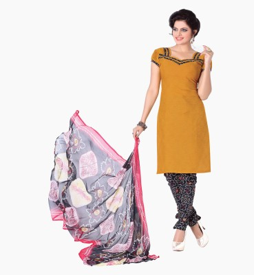 The Four Hundred Cotton Polyester Blend Self Design Semi-stitched Salwar Suit Dupatta Material