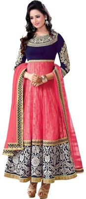 Clickedia Georgette Embroidered Semi-stitched Salwar Suit Dupatta Material
